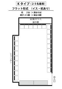 K フラット形式(イス25脚・机2個あり)